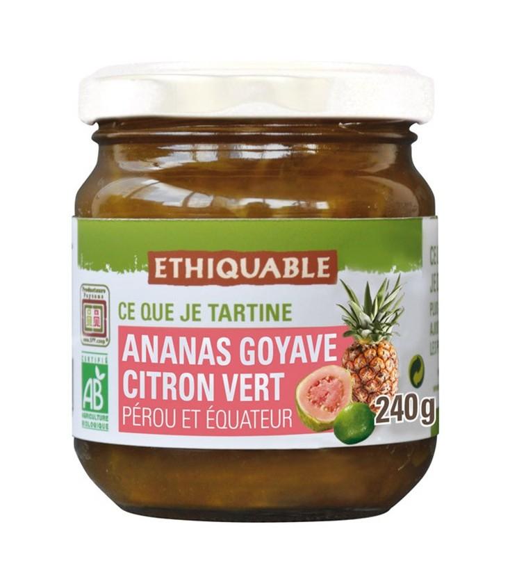 Confiture ananas, goyave et citron vert bio, équitable