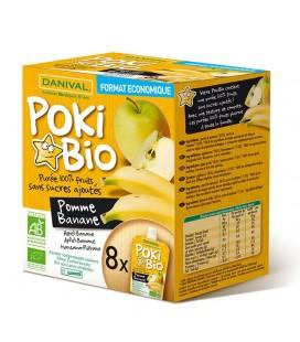 DANIVAL Poki Bio - Purée pomme & banane 100% fruit bio sans sucres ajoutés