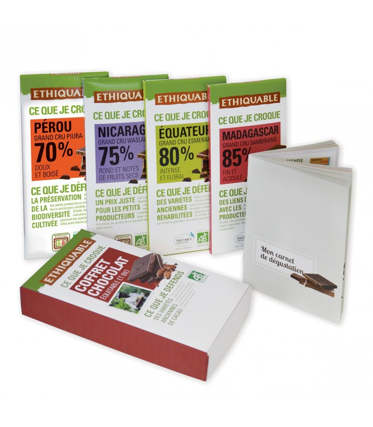 Assortiment 4 tablettes chocolat noir bio & équitable