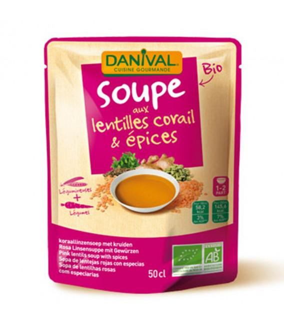 Soupe bio aux lentilles corail & épices
