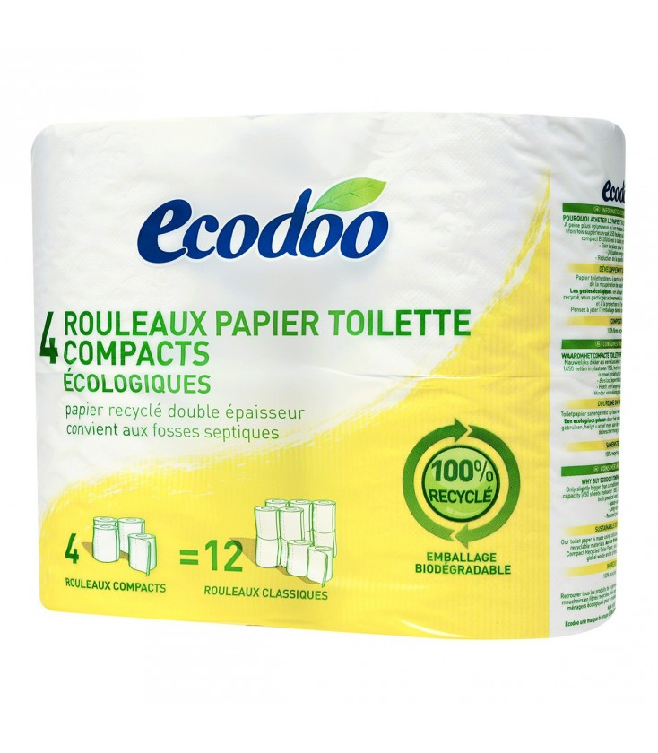 Rouleaux papier toilette compacts écologiques et 100% recyclé