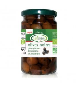 Olives noires bio dénoyautées en saumure