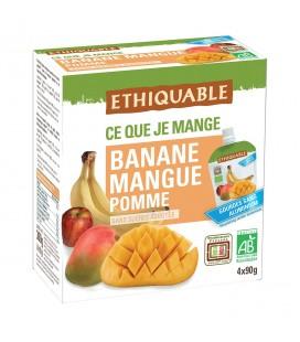 Purée Banane, Mangue, Pomme bio & équitable en gourde
